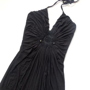 Sky black Khatuna halter maxi dress